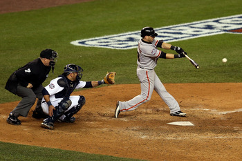 Marco Scutaro drives in the winning run in Game 4 of the World Series.