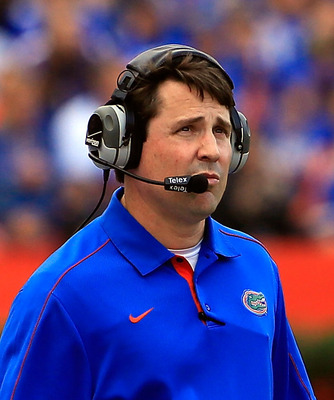 GAINESVILLE, FL - NOVEMBER 17:  Head coach Will Muschamp of the Florida Gators watches the action during the game against the Jacksonville State Gamecocks at Ben Hill Griffin Stadium on November 17, 2012 in Gainesville, Florida.  (Photo by Sam Greenwood/G