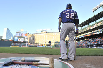 BALTIMORE, MD - MAY 10:  Josh Hamiton #32 of the Texas Rangers looks on before his first at bat during a baseball game against the Baltimore Orioles at Oriole Park at Camden Yards on May 10, 2012 in Baltimore, Maryland.  (Photo by Mitchell Layton/Getty Im