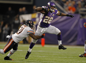 Adrian Peterson exploded against the Chicago Bears for 154 yards.