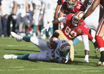 Aldon Smith had two sacks against Miami in Week 14.