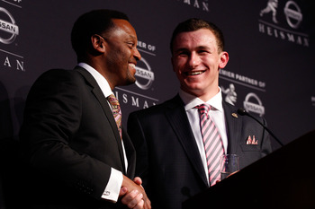Texas A&M Football Coach Kevin Sumlin with QB Johnny Manziel