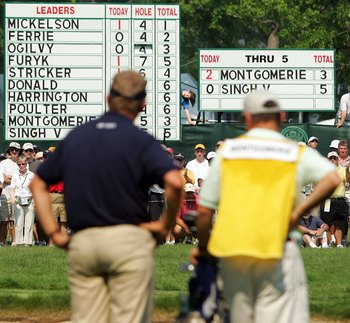 Colin Montgomerie led in the early going of the final round of the 2006 U.S. Open but couldn't make the shot on the final hole.