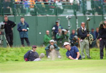 All Jean Van de Velde needed was a double bogey, but this shot out of the bunker was his sixth and he made triple-bogey.