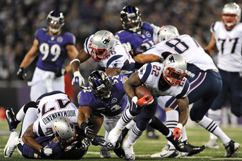 BALTIMORE, MD - SEPTEMBER 23: Running back Stevan Ridley #22 of the New England Patriots runs against the Baltimore Ravens at M&T Bank Stadium on September 23, 2012 in Baltimore, Maryland. (Photo by Patrick Smith/Getty Images)
