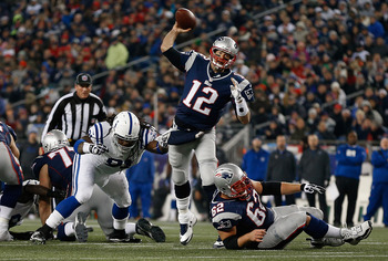 FOXBORO, MA - NOVEMBER 18: Tom Brady #12 of the New England Patriots throws during a game against  the Indianapolis Colts at Gillette Stadium on November 18, 2012 in Foxboro, Massachusetts. (Photo by Jim Rogash/Getty Images)
