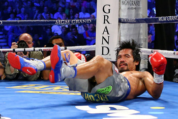 Pacquiao was floored twice in the fight.