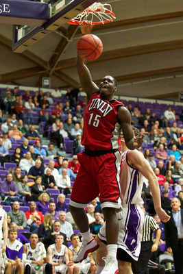 Dec. 4, 2012; Portland, OR, USA; UNLV Rebels forward Anthony Bennett (15) dunks the ball  against the Portland Pilots at The Earle A. & Virginia H. Chiles Center.  Mandatory Credit: Jaime Valdez-USA TODAY Sports