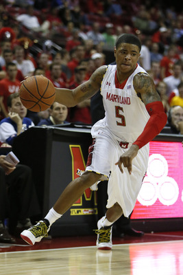 Nov 12, 2012; Baltimore, MD, USA; Maryland Terrapins guard Nick Faust (5) drives to the basket against the Morehead State Eagles at the Comcast Center. Mandatory Credit: Mitch Stringer-USA TODAY Sports