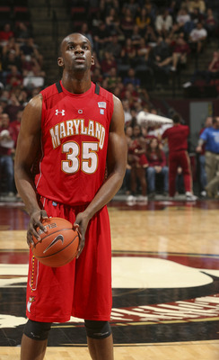 Jan 17, 2012; Tallahassee, FL, USA; Maryland Terrapins forward James Padgett (35) gets ready to shoot a free throw in the second half of their game against the Florida State Seminoles at the Donald L. Tucker Center. Florida State won 84-70. Mandatory Cred
