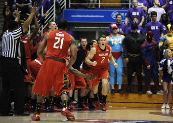 Nov 27, 2012; Evanston, IL, USA; Maryland Terrapins guard Logan Aronhalt (2) reacts after making a three point shot against the Northwestern Wildcats during the second half at Welsh-Ryan Arena. The Maryland Terrapins defeated the Northwestern Wildcats 77-