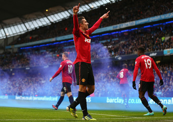 Robin van Persie celebrates his late winner in last week's Manchester derby