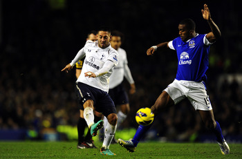 Clint Dempsey unleashing his deflected shot at Goodison last week to put Spurs 1-0 up