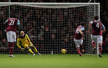 Mark Noble slots home the equaliser from the penalty spot against Liverpool last Sunday