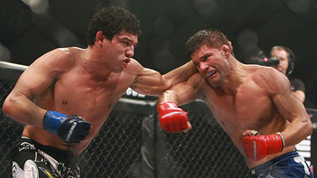 Gilbert Melendez and Josh Thomson was a five-round slugfest, and one of Strikeforce's best fights. Photo c/o Sherdog.com.