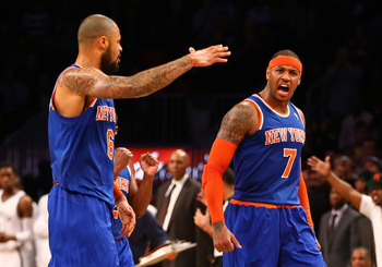 New York Knicks' Tyson Chandler, Carmelo Anthony
