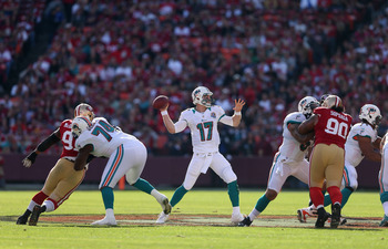 SAN FRANCISCO, CA - DECEMBER 09:  Ryan Tannehill #17 of the Miami Dolphins in action against the San Francisco 49ers at Candlestick Park on December 9, 2012 in San Francisco, California.  (Photo by Ezra Shaw/Getty Images)