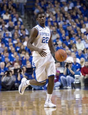 Dec 8, 2012; Lexington, KY, USA; Kentucky Wildcats forward Alex Poythress (22) dribbles the ball against the Portland Pilots in the second half at Rupp Arena. Kentucky defeated Portland 74-46. Mandatory Credit: Mark Zerof-USA TODAY Sports
