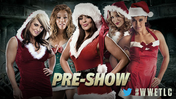 In the past the WWE has used their YouTube pre-shows to show midcard Superstars go at it. Now it's Divas...in Santa outfits. Photo courtesy of WWE.com