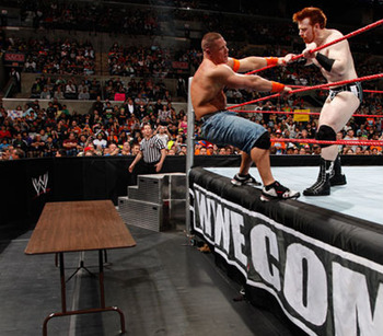 Cena and Sheamus had a Tables match with an...interesting ending. Photo courtesy of WWE.com