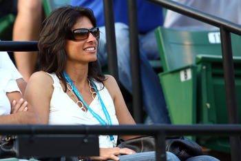 KEY BISCAYNE, FL - APRIL 02:  Gabriella Sabatini watches as Rafael Nadal of Spain takes on Juan Martin Del Potro of Argentina during the quarterfinals of the Sony Ericsson Open at the Crandon Park Tennis Center on April 2, 2009 in Key Biscayne, Florida.  