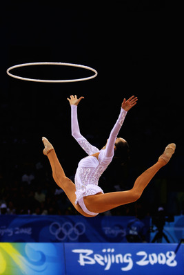 BEIJING - AUGUST 23:  Anna Bessonova of Ukraine competes in the Individual All-Around final held at the University of Science and Technology Beijing Gymnasium on Day 15 of the Beijing 2008 Olympic Games on August 23, 2008 in Beijing, China.  (Photo by Mik