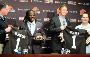 Trent Richardson and Brandon Weeden  being introduced as Cleveland Browns