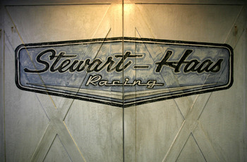 CONCORD, NC - JANUARY 21:  Stewart-Haas Racing's new logo is displayed on the doors entering the shop area, during the NASCAR Sprint Media Tour hosted by Lowe's Motor Speedway on January 21, 2009 at Stewart-Haas Racing in Kannapolis, North Carolina. (Phot