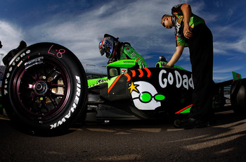 LAS VEGAS, NV - OCTOBER 14:  Danica Patrick, driver of the #7 Andretti Autosport Dallara Honda, prepares during qualifying for the IZOD IndyCar World Championships Presented By Honda at Las Vegas Motor Speedway on October 14, 2011 in Las Vegas, Nevada.  (