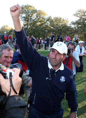 European Ryder Cup Captain Jose Maria Olazabal acknowledges the fans at Medinah