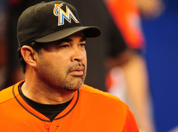 MIAMI, FL - SEPTEMBER 30: Manager Ozzie Guillen #13 of the Miami Marlins looks on prior to MLB action against thePhiladelphia Phillie at Marlins Park on September 30, 2012 in Miami, Florida. (Photo by Jason Arnold/Getty Images)