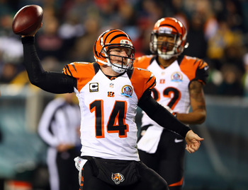 PHILADELPHIA, PA - DECEMBER 13:  Andy Dalton #14 of the Cincinnati Bengals celebrates his touchdown in the second half against the Philadelphia Eagles on December 13, 2012 at Lincoln Financial Field in Philadelphia, Pennsylvania.  (Photo by Elsa/Getty Ima
