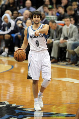 Dec 15, 2012; Minneapolis, MN, USA; Minnesota Timberwolves guard Ricky Rubio (9) calls a play during the first quarter against the Dallas Mavericks at the Target Center. Mandatory Credit: Brace Hemmelgarn-USA TODAY Sports