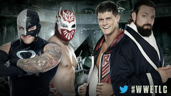 Rey Mysterio and Sin Cara vs. Team Rhodes Scholars (Courtesy of WWE.com)