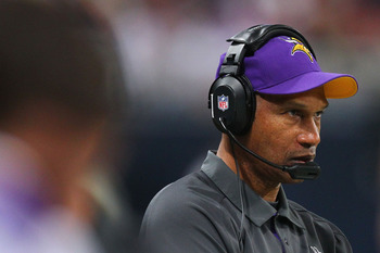 ST. LOUIS, MO - DECEMBER 16: Head coach Leslie Frazier of the Minnesota Vikings watches his team play against the St. Louis Rams at the Edward Jones Dome on December 16, 2012 in St. Louis, Missouri.  (Photo by Dilip Vishwanat/Getty Images)