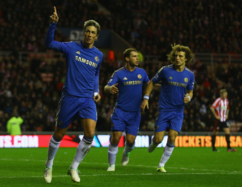 The enigmatic Fernando Torres celebrates scoring a rare Premier League goal at Sunderland