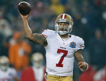 Colin Kaepernick threw four touchdowns.