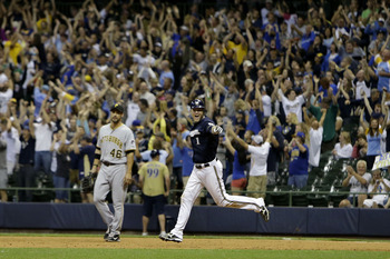Sept. 1 walk-off by Hart against the Pirates in Miller Park.