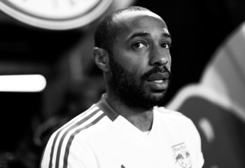 HARRISON, NJ - NOVEMBER 08:  (Editor's Note: This image has been converted to black and white) Thierry Henry #14 of the New York Red Bulls takes the field prior to the game against DC United during their Eastern Conference Semifinal match at Red Bull Aren