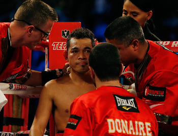 Donaire getting advice from his corner.