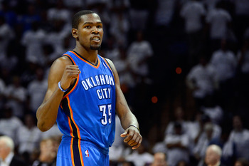 Kevin Durant celebrates winning Game 5 of the 2012 Western Conference finals.