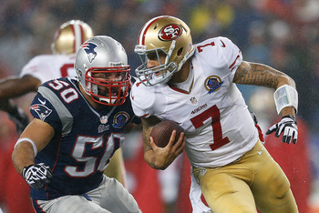 Colin Kaepernick rushed for 28 total yards, threw four touchdowns, and had one interception on Sunday night.