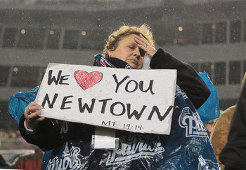 The tragedy of the recent shooting spree at Sandy Hook Elementary School in Newtown, Connecticut was observed before the game.