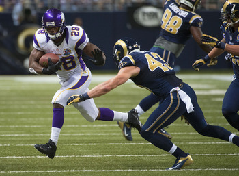 Adrian Peterson racked up over 200 rushing yards against the Rams.