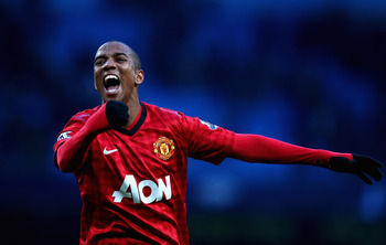 MANCHESTER, ENGLAND - DECEMBER 09:  Ashley Young of Manchester United celebrates at the end of during the Barclays Premier League match between Manchester City and Manchester United at Etihad Stadium on December 9, 2012 in Manchester, England.  (Photo by
