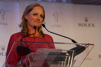Stacy Lewis accepts Rolex Player of the Year Award.