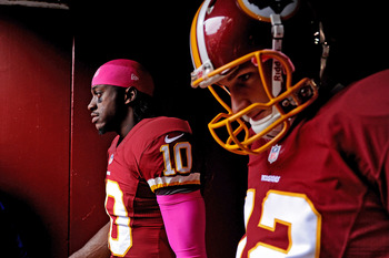 Redskins rookie QBs—2012 Rookie of the Year candidate RG III and Kirk Cousins.