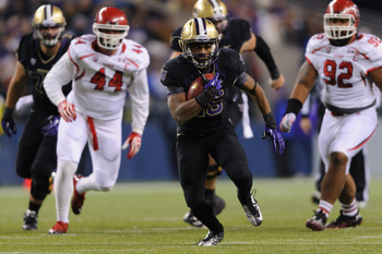 Nov 10, 2012; Seattle, WA, USA; Washington Huskies running back Bishop Sankey (25) carries the ball against the Utah Utes during the 1st half at CenturyLink Field. Mandatory Credit: Steven Bisig-USA TODAY Sports