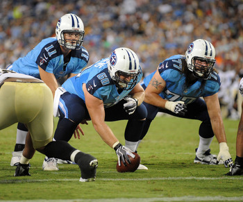 Aug 30, 2012; Nashville, TN, USA; Tennessee Titans quarterback Rusty Smith (11) and center Kevin Matthews (60) and guard Ryan Durand (77) during the second half of a preseason game against the New Orleans Saints at LP Field. Tennessee won 10 to 6. Mandato