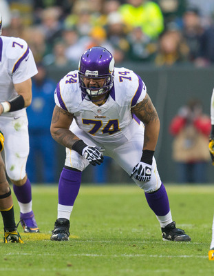 Charlie Johnson continues to struggle as Minnesota's left guard and should be replaced in 2013.